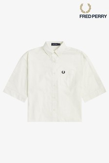 Fred Perry White Split Sleeve Shirt