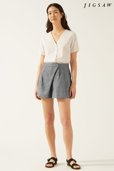 Jigsaw Black Check Irish Linen Short