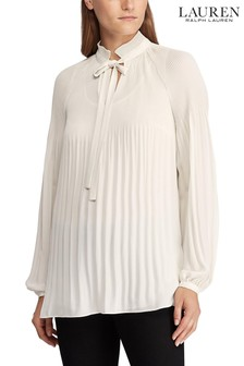 Lauren Ralph Lauren® Cream Duong Pleated Blouse