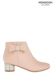 Monsoon Pink Belinda Pearl Diamanté Heel Boots