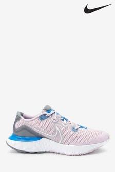 Nike Pink/White Renew Run Youth Trainers