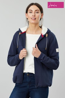 Joules Blue Joanna Zip Through Fleece Lined Hoody