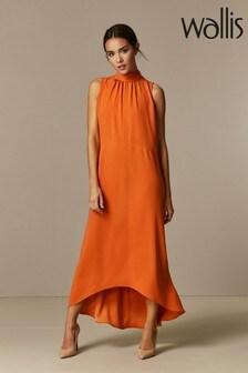 Wallis Orange High Neck Maxi Dress