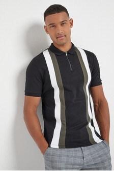 Vertical Block Zip Neck Poloshirt