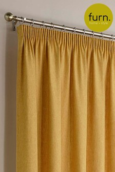 Harrison Herringbone Pencil Pleat Curtains by Furn