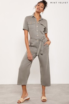 Mint Velvet Khaki Button Down Boilersuit