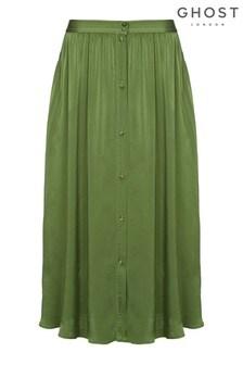 Ghost London Nina Forest Green Satin Skirt