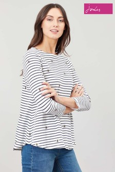 Joules Cream Harbour Light Print Jersey Top