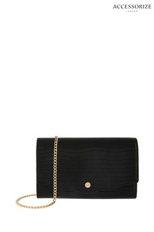 Accessorize Black Phone Wallet With Chain