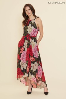 Gina Bacconi Red Azania Floral Belted Dress