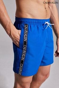 Calvin Klein Blue Core Logo Tape Drawstring Shorts