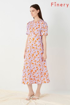 Finery London Orange Megan Printed Satin Anouk Dress