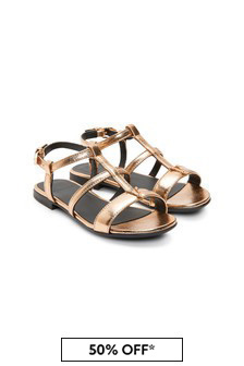 Versace Girls Gold Leather Sandals