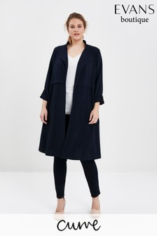 Evans Curve Navy Crepe Long Line Jacket