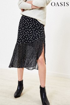 Oasis Black/White Patched Print Midi Skirt
