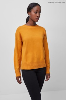 French Connection Yellow Baby Soft Miri Knits Drop Shoulder Jumper