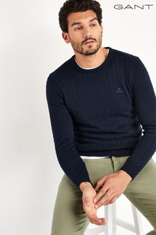 GANT Navy Flat Cable Crew Top