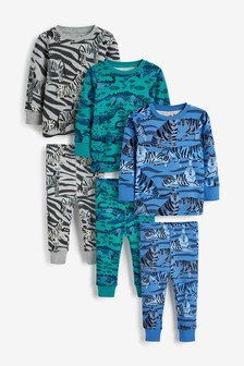 3 Pack Animal Print Snuggle Pyjamas (9mths-8yrs)