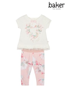 baker by Ted Baker Set aus Top und bedruckten Leggings, Rosa
