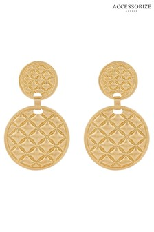 Accessorize Gold Tone Quilted Doorknocker Earrings