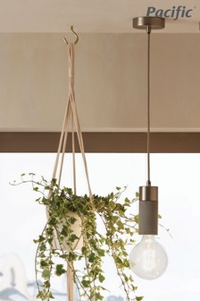 Frowick Concrete And Brushed Chrome Ceiling Light by Pacific Lifestyle