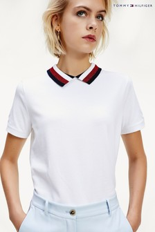 Tommy Hilfiger White Abby Relaxed Polo Top