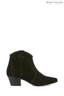 Mint Velvet Clara Black Cowboy Boots