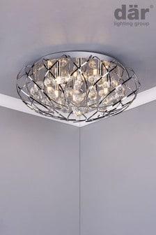 Dar Lighting Silver Riya 8 Light Flush Fitting
