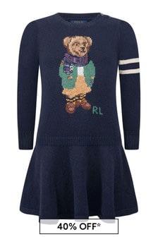 Girls Navy Cotton & Wool Bear Dress