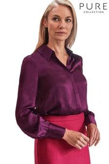 Pure Collection Purple Silk Satin Shirt
