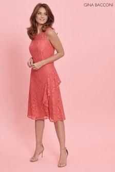 Gina Bacconi Orange Lilita Corded Lace Waterfall Frill Dress