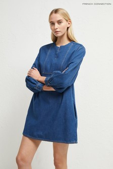 French Connection Blue Luna Jule Contrast Belted Dress