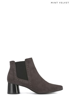 Mint Velvet Maya Grey Suede Studded Boots