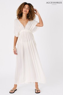 Accessorize Cream Metallic Maxi Kaftan Dress