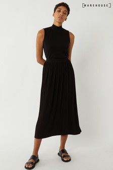 Warehouse Black Pleated Skirt