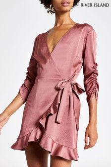River Island Dusky Pink Kitty Wrap Playsuit