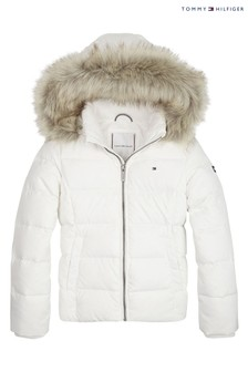 Tommy Hilfiger White Essential Basic Down Jacket