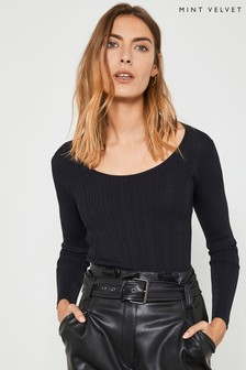 Mint Velvet Black Scoop Neck Fitted Jumper