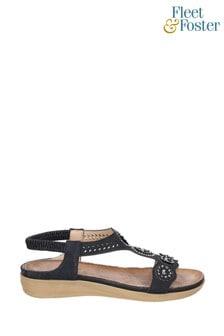 Fleet & Foster Black Caper Elastic T-Bar Sandals