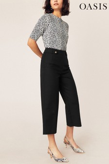 Oasis Black Crop Wide Leg Trousers