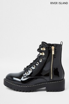River Island Wide Fit Black Patent Lace-Up Chunky Boots