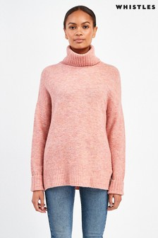 Whistles Pale Pink Oversized Roll Neck Knitted Jumper