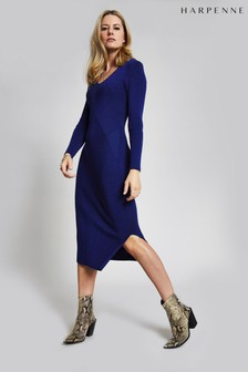 Harpenne Blue Panelled Knitted Midi Dress