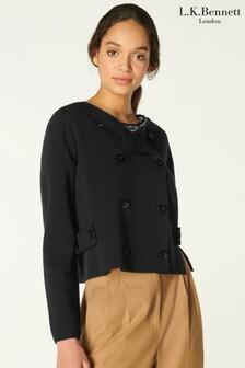 L.K.Bennett Black Edna Double Breasted Milano Jacket