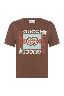 Kids Brown Cotton Vintage Logo T-Shirt