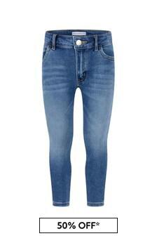 Calvin Klein Jeans Girls Blue Cotton Skinny Stretch Jeans