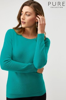 Pure Collection Green Cashmere Slim Fit Crew Neck Sweater