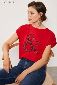 Mint Velvet Lizzie Print Ampersand T-Shirt