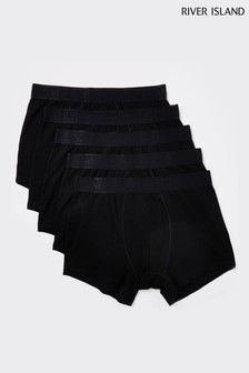 River Island Black Drench Waffle Briefs 5 Pack