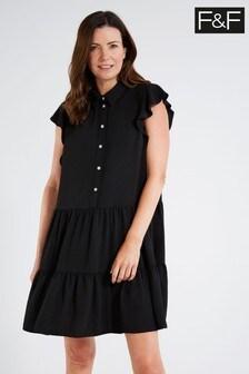 F&F Black Jewel Button Tier Dress